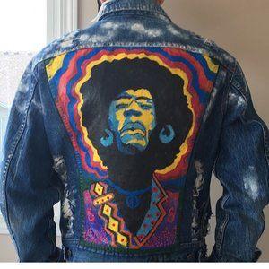 Handpainted Jimi hendrix Denim jacket